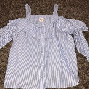 Mossimo blue and white striped blouse